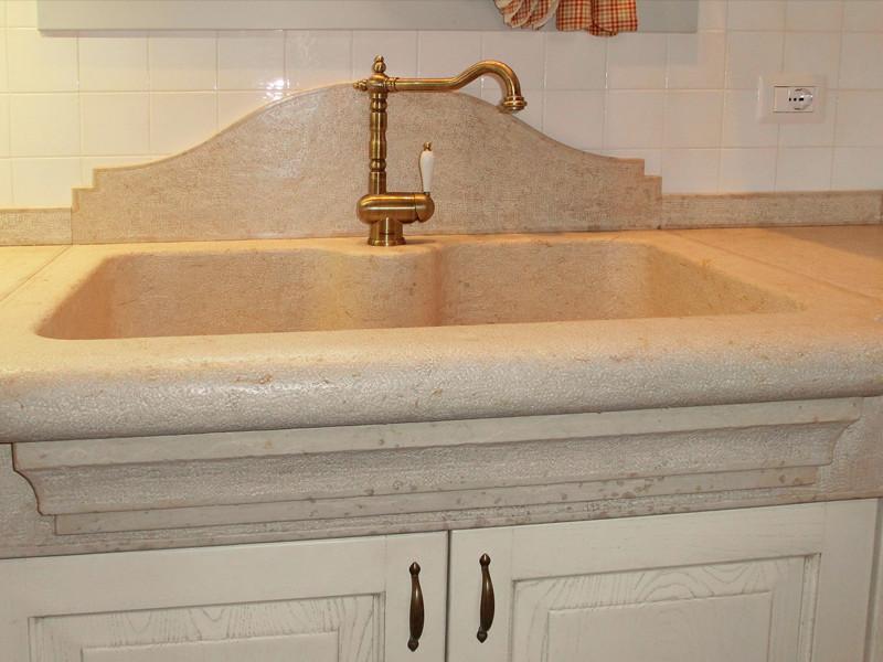 Blocco lavello top cucina rustica in marmo arabescato - Top cucina marmo prezzi ...